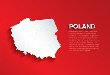 Fototapeta Poland Map with shadow. Cut paper isolated on a red background. Vector illustration.  obraz
