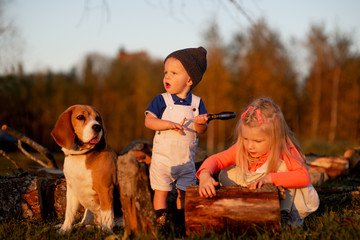 Two kids and dog playing outdoor in sunny autumn day