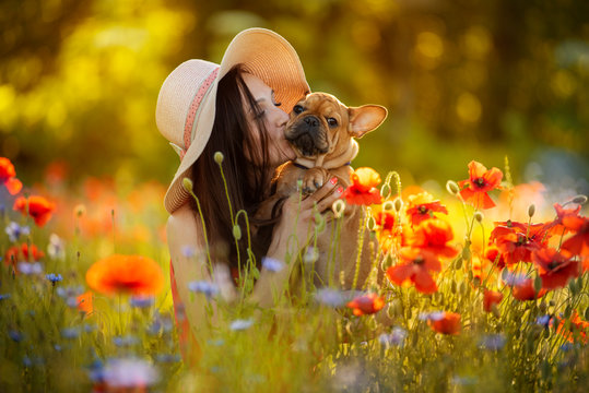 young girl and her french bulldog puppy in a field with red poppies