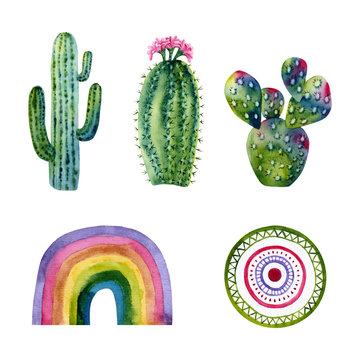 Set of watercolor cacti, rainbow, ornament circle. Colorful illustration isolated on white. Hand painted elements perfect for poster, kids wallpaper, fabric textile, interior design