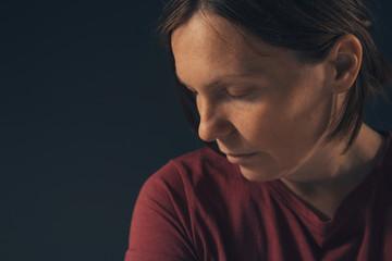 Sensual melancholic female portrait, no makeup and no retouching Wall mural