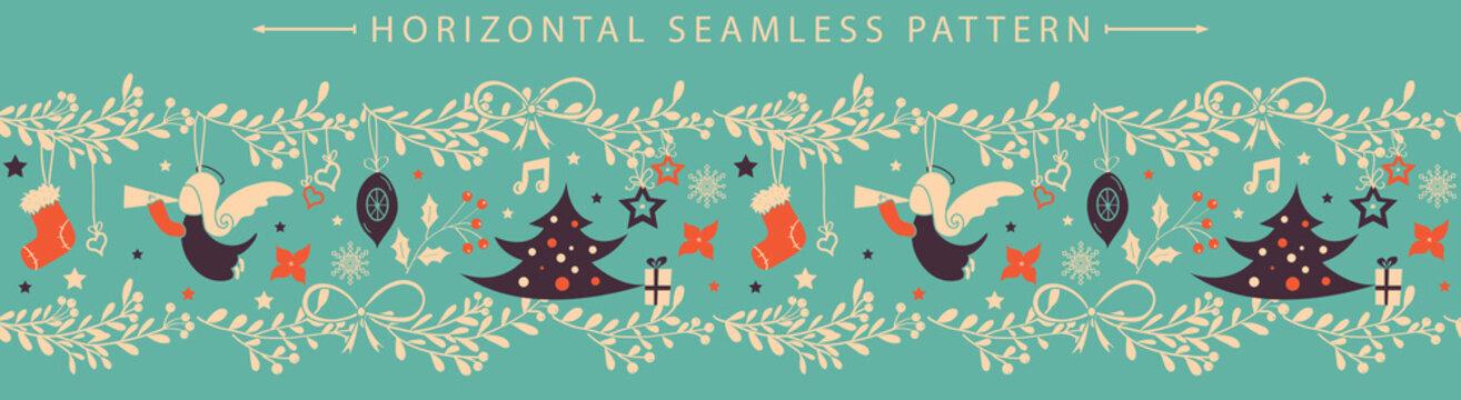 Christmas vector horizontal seamless border