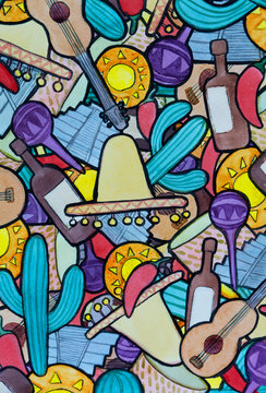 abstract Mexican themed background watercolor illustration