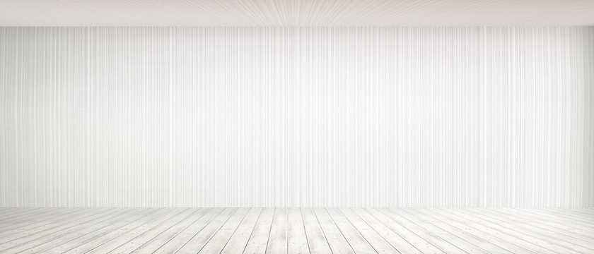 Room interior vintage with white brick wall and wood floor background. white concrete wall and white wood floor. Empty bright interior. 3D render.