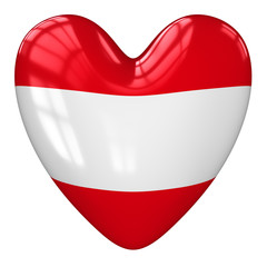 Austria flag heart. 3d rendering.