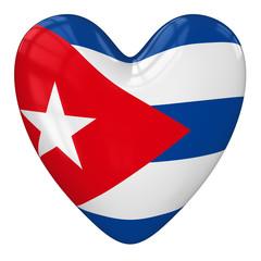 Cuba flag heart. 3d rendering.
