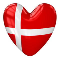 Denmark flag heart. 3d rendering.