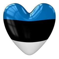 Estonia flag heart. 3d rendering.