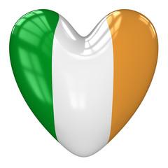 Ireland flag heart. 3d rendering.