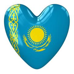 Kazakhstan flag heart. 3d rendering.