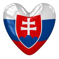 Slovakia flag heart. 3d rendering.