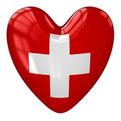 Switzerland flag heart. 3d rendering.