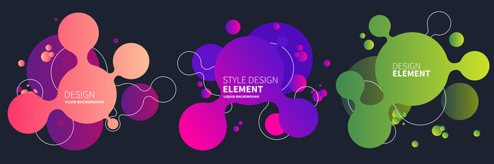 Set of abstract modern graphic elements. Gradient abstract banners with flowing liquid shapes. Dynamical colored forms and line. Template for the design of a logo, flyer or presentation. Vector.