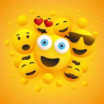 Various Smiling Happy Yellow Emoticons in Front of a Yellow Background, Vector Concept Illustration