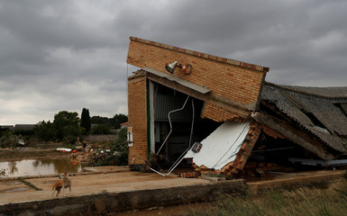 The roof of a building is seen collapsed after heavy rainfall in Tafalla
