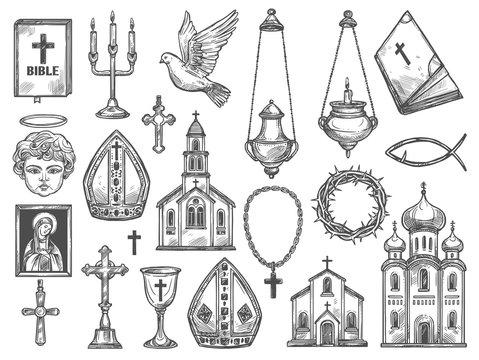 Christian religion church, bible, God icon, cross