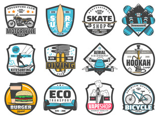 Leisure activity, sport, adventure, travel badges