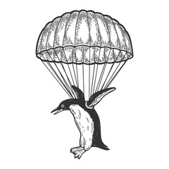 Penguin bird fly with parachute as paratrooper sketch engraving vector illustration. Scratch board style imitation. Hand drawn image.