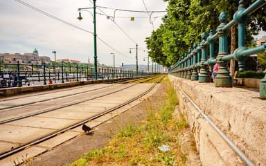 Budapest tram tracks at the Danube