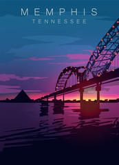 Memphis modern vector poster. Memphis, Tennessee landscape illustration.