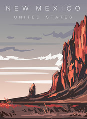 Canvas Prints Cappuccino New Mexico modern vector illustration. New Mexico desert landscape poster,United states.