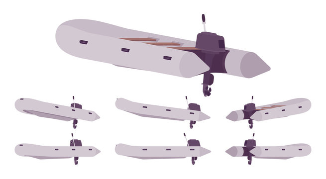 Inflatable boat with outboard motor. Grey rubber vessel for rafting, fishing, water sport equipment, holiday trip. Vector flat style cartoon illustration isolated on white background, different view