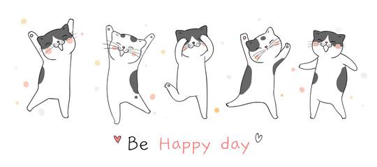 Draw banner cat dancing so funny.