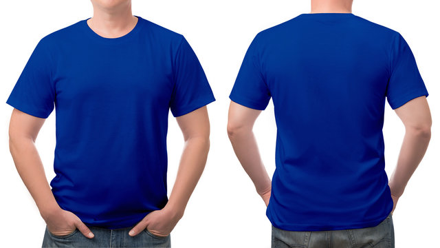 close up blue t-shirt cotton man pattern isolated on white.