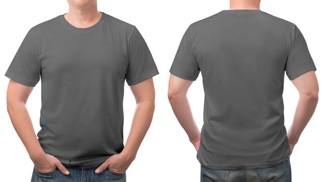 close up grey t-shirt cotton man pattern isolated on white.