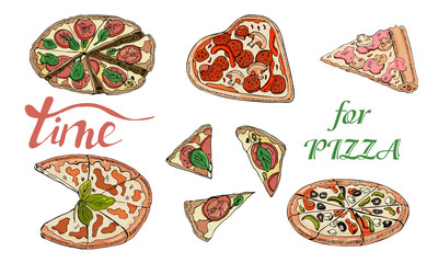 Collection of type of pizza. Hand drawn ink and colored sketch. Pepperoni, Margarita,  Mushroom.  Perfect for leaflets, cards, posters, prints, menu, booklets, labels.
