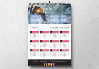 Calendar 2020 Layout with Colorful Design Elements