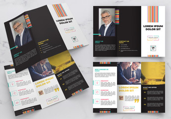 Trifold Brochure Layout with Colorful Design Elements