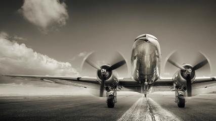 Obraz historical aircraft on a runway - fototapety do salonu