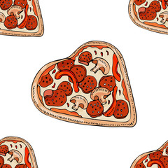 Seamless pattern with whole  pizza in heart shape isolated on white background. Hand drawn ink  and colored sketch.