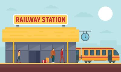 Railway station concept banner. Flat illustration of railway station vector concept banner for web design