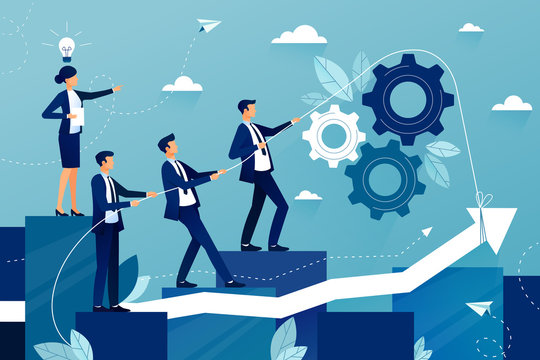 Concept of teamwork in business company. Business team walking to success. Female boss showing way to future success. Mutual support and assistance in work. Vector colorful illustration