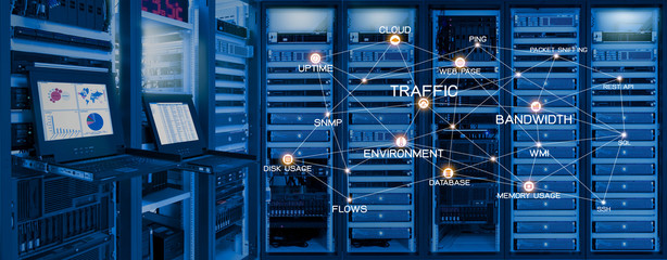 Monitor show information of network traffic and status of devices in data center room