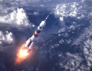 Fototapete - Russian Carrier Rocket Launch In The Clouds
