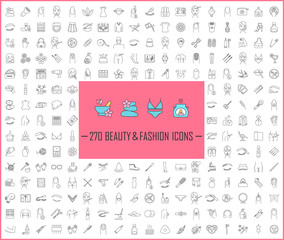 Beauty and fashion industry linear icons big set. Thin line contour symbols. Cosmetics, plastic surgery, spa, manicure, clothes and accessories. Isolated vector outline illustrations. Editable stroke