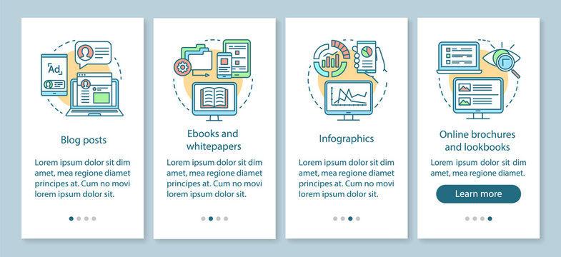 Awareness content onboarding mobile app page screen with linear concepts. Blog posts, ebooks, infographics walkthrough steps graphic instructions. UX, UI, GUI vector template with illustrations