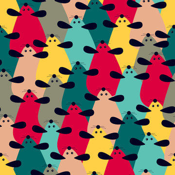 Seamless pattern with cartoon cute mouse - Chinese symbol of the new year 2020. Repeating pattern of many mice. Vector illustration can be used for print, holiday packing, postcard, poster.