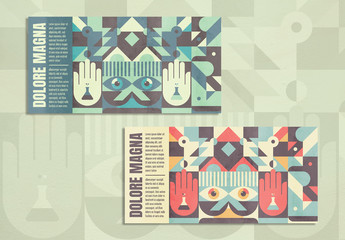 Abstract Geometric Flyer Layout with Grunge Texture