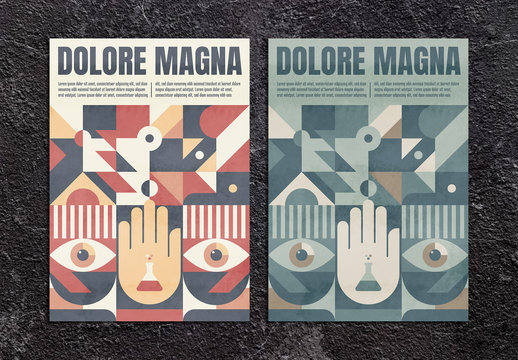 Abstract Geometric Poster Layout with Grunge Texture