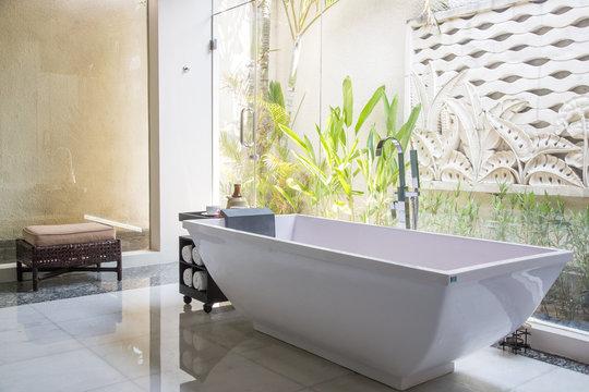 Modern bathroom interior with luxury classic bathtub