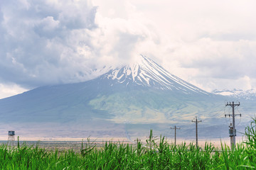 View on the cloudy Mount Ararat from Iranian side near Soraya Springs