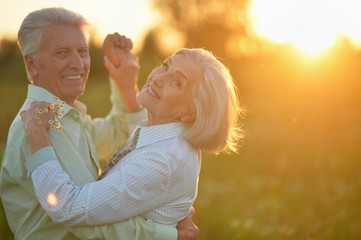 Portrait of beautiful senior couple dancing in the summer park