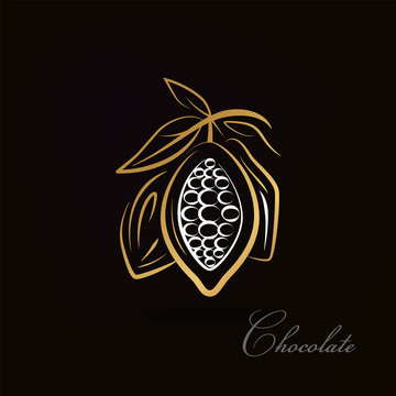Chocolate logo/sign design. Cacao beans illustration. Vector image.