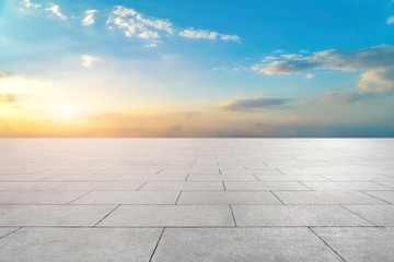 Empty Plaza Bricks and Sky Cloud Landscape