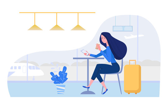 Woman at the airport sitting in cafe with suitcase, mobile phone and coffee. Female vector character illustration in flat style