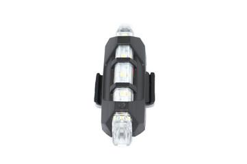 white bike light (flashlight) for night pedal safety isolated on white background
